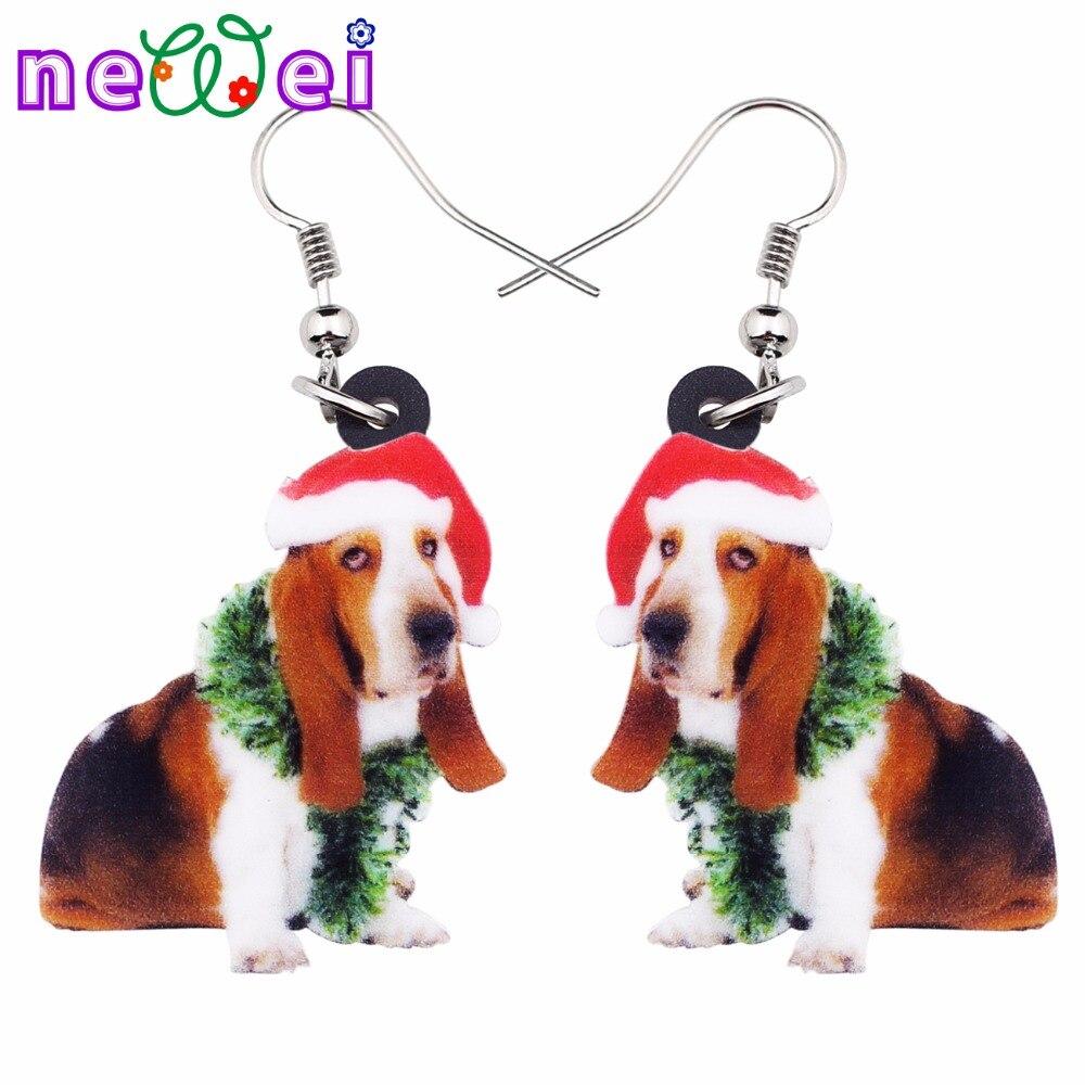 NEWEI Acrylic Sweet Christmas Basset Hound Dog Earrings Big Long Dangle Drop Novelty Jewelry For Women Girl Ladies Teens Gift
