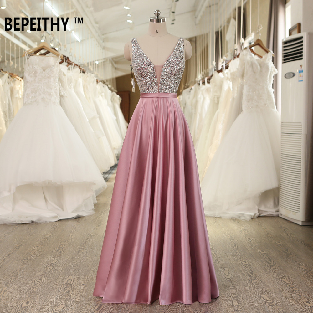 BEPEITHY Long Evening Dress V-neck Beading Bodice Sexy Prom Gowns With Backless 2019 Fast Shipping(China)