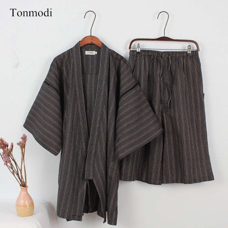 NEW Men's Sleepwear Kimono Cotton Short Sleeve Pyjamas Shorts  Men Lounge Sleep Pajama Set Kimono