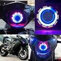 WUPP Nueva Incorporada 12 V LED Hi/luz de Cruce Del Faro de La Motocicleta Del Coche Angel Eyes + Devil Eyes