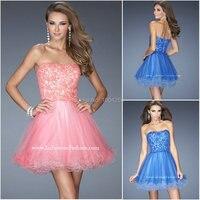 AC004 2016 Sexy Curved Strapless Neckline Appliques Mini Short Prom Dress Cocktail Dresses Custom Made Dress