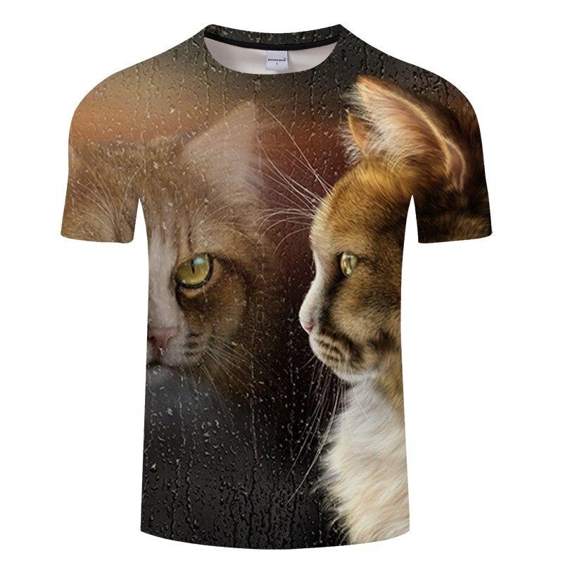 Черная футболка с 3D принтом кота для мужчин и женщин, летняя повседневная футболка с коротким рукавом и круглым вырезом, Топы И Футболки, Забавные футболки, Азиатские размеры S-6XL - Цвет: TXKH3147