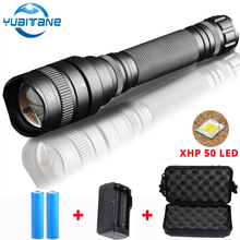 10000Lum LED Torch 30W Chip Lamp XHP 50 Powerful Waterproof Tactical LED Flashlight torch Zoom xhp50 Lantern By 2*18650 Battery