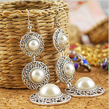 Fashion Dangle Earrings New Style Retro Noble WOmen 3 Circle White Simulated Pearl Drop Earrings fashion pearl earrings hot selling new style retro noble women 3 circle white simulated dangle earrings