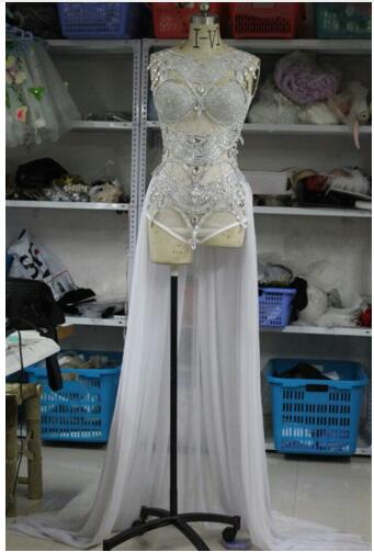 Fashion Shining silver perspective paillette bodysuit costumes sexy female singer jazz dance stage wear show sexy