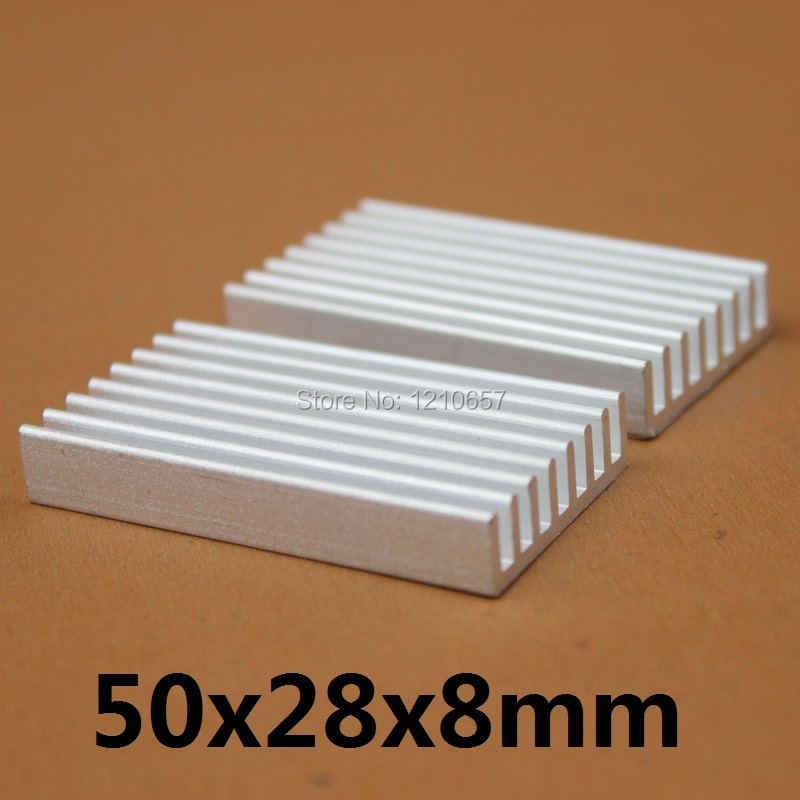 2 pieces lot 50x28x8mm Aluminum Heat Sink For Computer Electronic