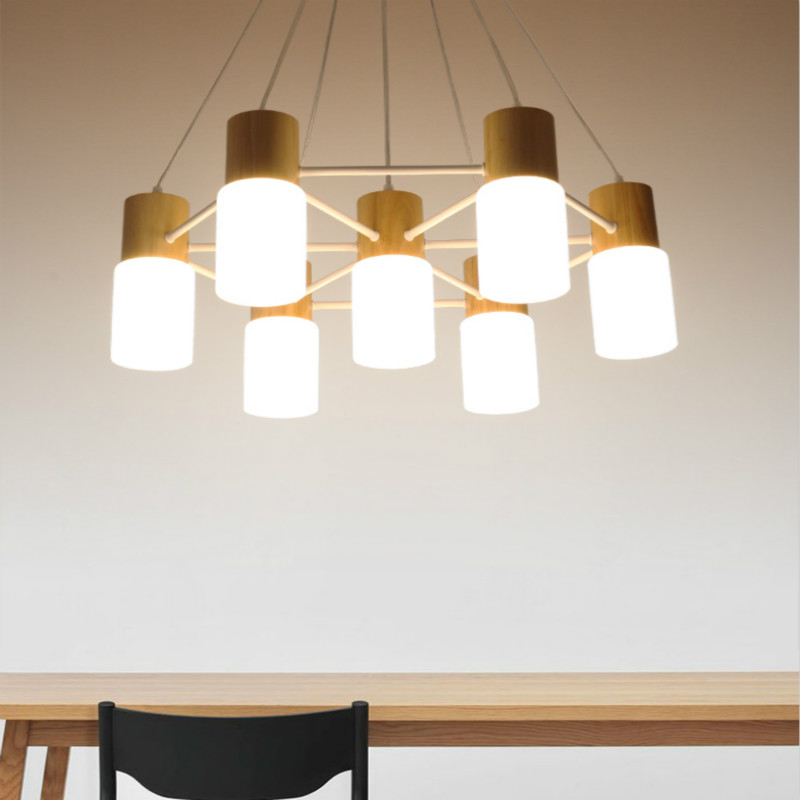 Simple modern creative wood led chandelier living room new Chinese style wood glass lamp shade fixture home decor lighting lamps chinese modern creative lamp lift shrink mahjong chess room chandelier wood chandelier restaurant lamp