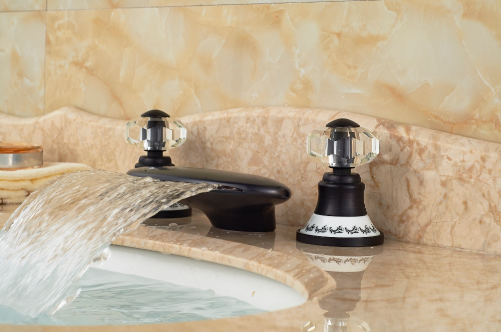 Oil Rubbed Bronze Crystal Handles Vanity Sink Mixer Tap Bathroom Basin Faucet декор lord vanity quinta mirabilia grigio 20x56