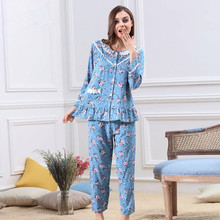 2017 New Brand Ladies Cotton Pajamas Cute Floral Sleepwear Lovely Long Sleeve Spring Pajama Sets Casual Homewear For Women