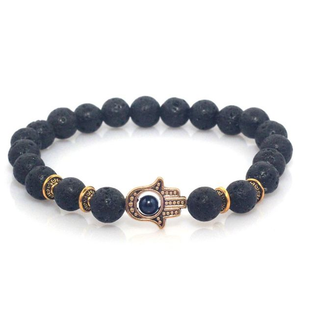 The Hamsa – Fatimas Hand Bracelet With Natural Stone Beads