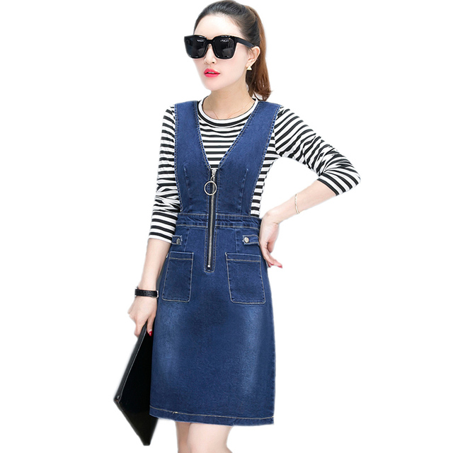 7e17c2fb0d7 Spring 2018 Deep V-Neck Front Zipper Sexy Strap Jeans Dresses Women Sleeveless  Denim Dress Female A-Line Summer Denim Sundress