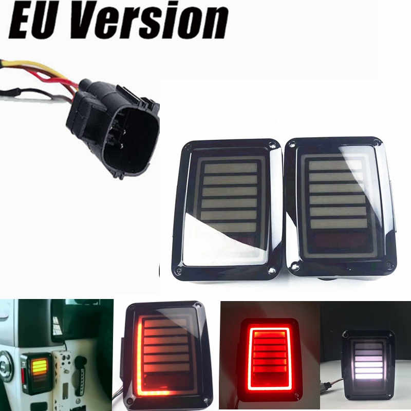 1Pair LED Rear Tail Light Brake Turn Signal Reverse 07-16 for Jeep Wrangler JK LED Tail Lamp Replacement Tail Lights Brake Lamps