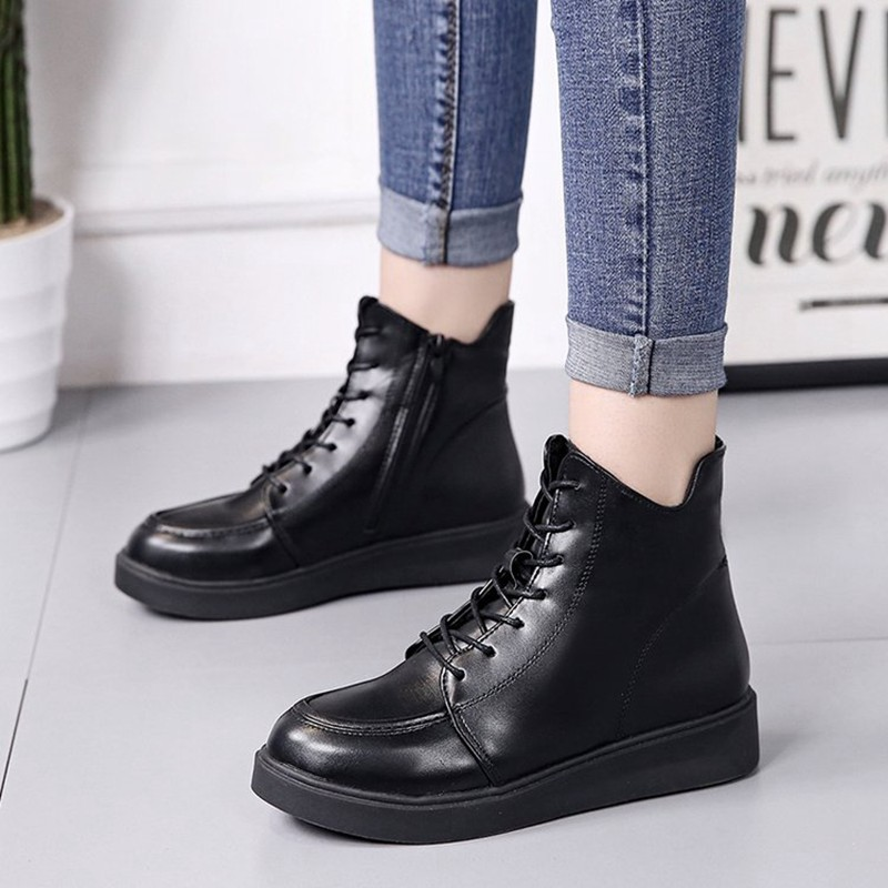 COOTELILI Plus Size Women Rubber Boots Women High Quality Black Flat Boots Fashion Winter Ankle Boots For Women 35-40 (1)