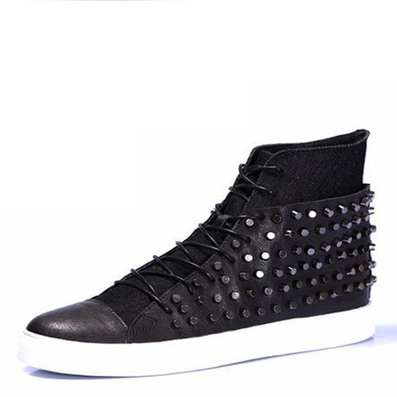 official photos f3bd5 b3eba Cuero-real-marca-casual-Rock-Hombre-Blanco-alto-Top-zapatos-tachonados-altas -calzado-calle-estilo-tenis.jpg