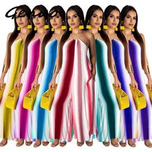 цена на Sexy Off Shoulder Jumpsuit Striped Printed Romper Women Spaghetti Strap Sleeveless Wide Leg Loose Playsuit Summer Female Overall