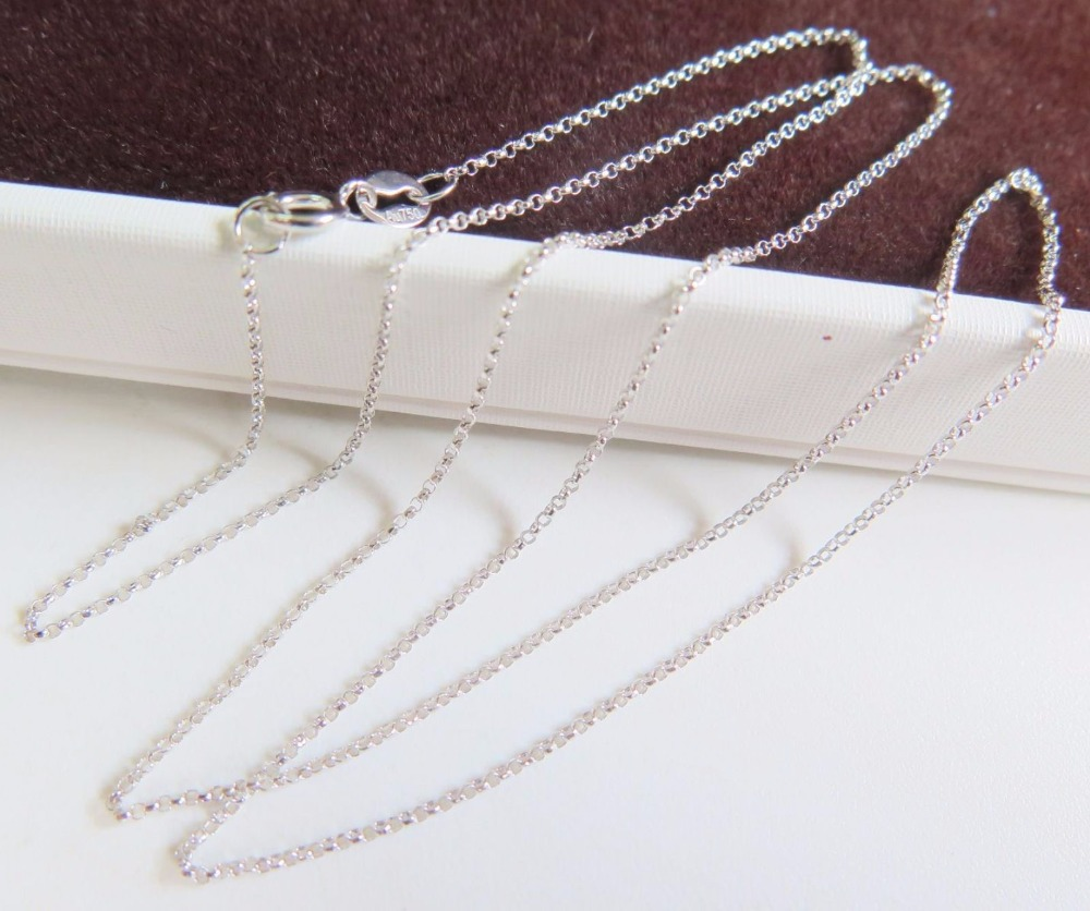 Pure 18K Solid White Gold Women Little Cable Link Chain Necklace 15.7L/ 1.2gPure 18K Solid White Gold Women Little Cable Link Chain Necklace 15.7L/ 1.2g