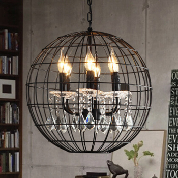 American retro iron cage hanging chain ball pendant lamp nostalgic restaurant crystal decorative LED lighting Fixture