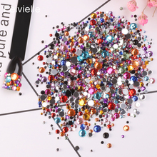 Feivielle 2018 New 2000 Pcs Nail Rhinestones 12 Colorful Crystal 6 Mixed Size Studs Manicure Art Decorations
