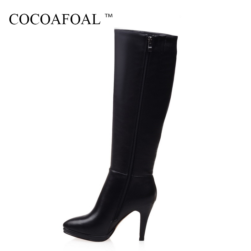 COCOAFOAL Genuine Leather Zipper Knee High Boots Fashion Sexy Black Women High Heeled Shoes Winter Beige Chelsea Knee High Boots