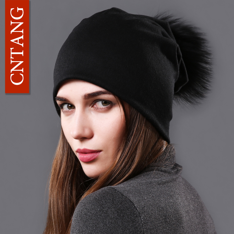 CNTANG Female Natural Raccoon Fur Pompom Hats Beanies Autumn Winter Warm Solid Caps For Women Fashion Cotton Skullies Thin Hat autumn winter beanie fur hat knitted wool cap with raccoon fur pompom skullies caps ladies knit winter hats for women beanies