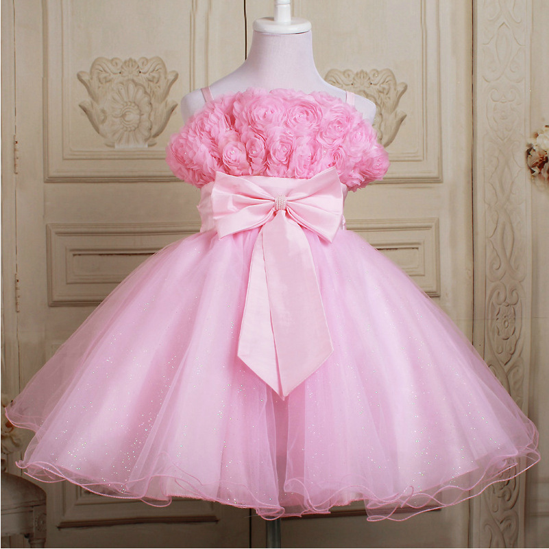 2016 kids frock designs Girls Dress Flowers sequins bow lace veil ...