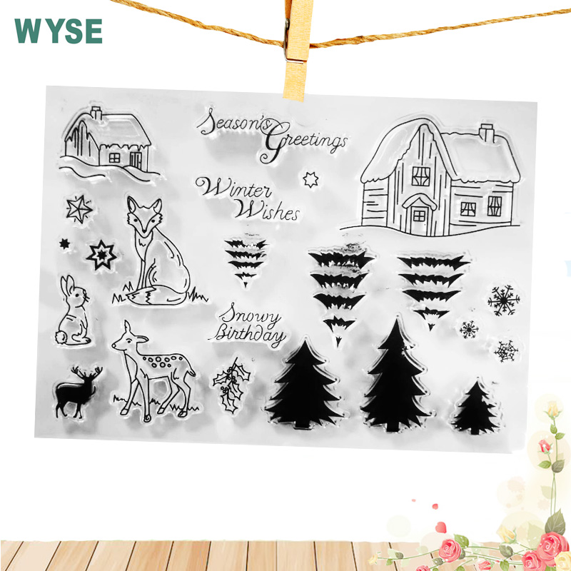 Clear stamps transparent rubber House Tree Animal Deer Clear stamp Seal for DIY Scrapbooking card making Photo Album decoration