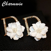 Charmwin Fashion Luxury Crystal Camellia Earrings Brand Design Letter Simulated Pearl Stud Earring Jewelry Women PE0862