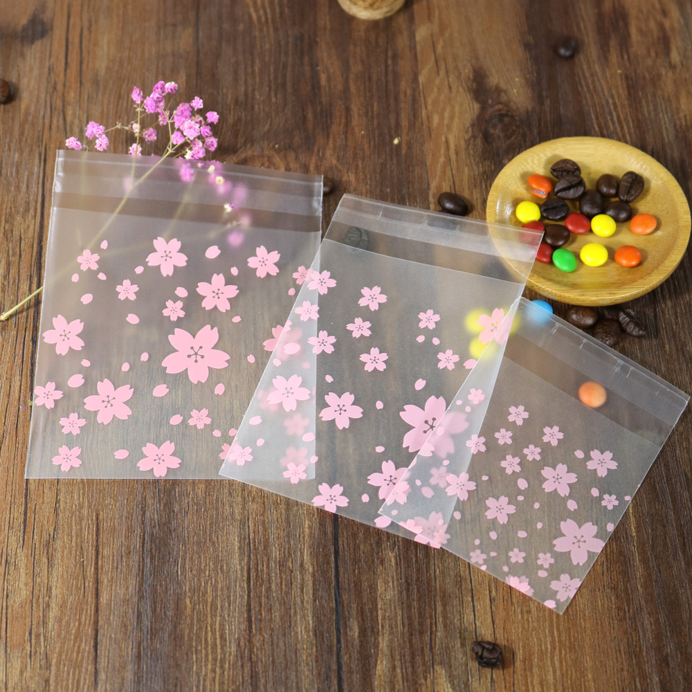 100pcs Multi-size Pink Sakura Plastic Envelopes Cherry Blossom Self-adhesive Envelope Wedding Gift Bag Office School Supply