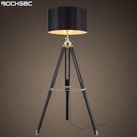 BOCHSBC штатив торшер современный черный оттенок ткани пол свет в стиле ретро дерево стоя дизайнер лампы торшер для гостиной