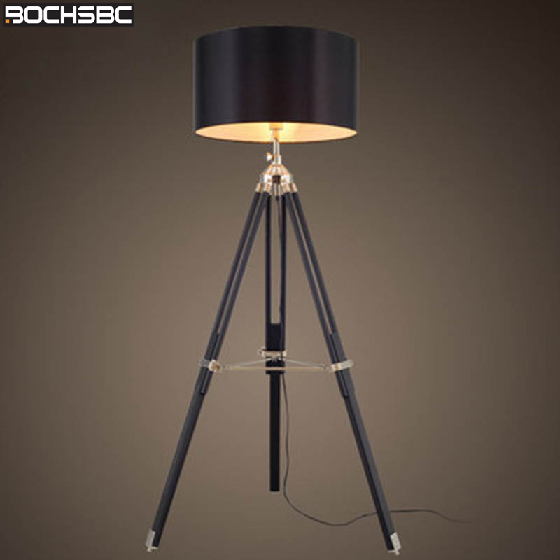 BOCHSBC Tripod Floor Lamp Modern Black Fabric Shade Floor Light Art Retro Wood Standing Lamp Designer Floor Lamp for Livign Room