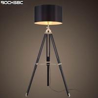 BOCHSBC Tripod Floor Lamp Modern Black Fabric Shade Floor Light Art Retro Wood Standing Lamp Designer Floor Lamp for Livign Room