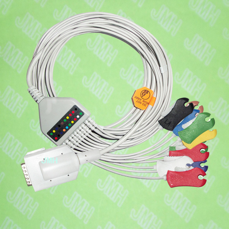 USE FOR 15 PIN Burdick Eclipse and Atria series EKG Machine the One-piece 10 leads cable and Clip leadwires,IEC or AHA.