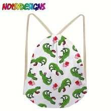School Drawstring Bags Travel Sports Shoe Dance Bag Unisex Travel Storage Backpack Tyrannosaurus Dinosaurs Bag Pocket sac a dos