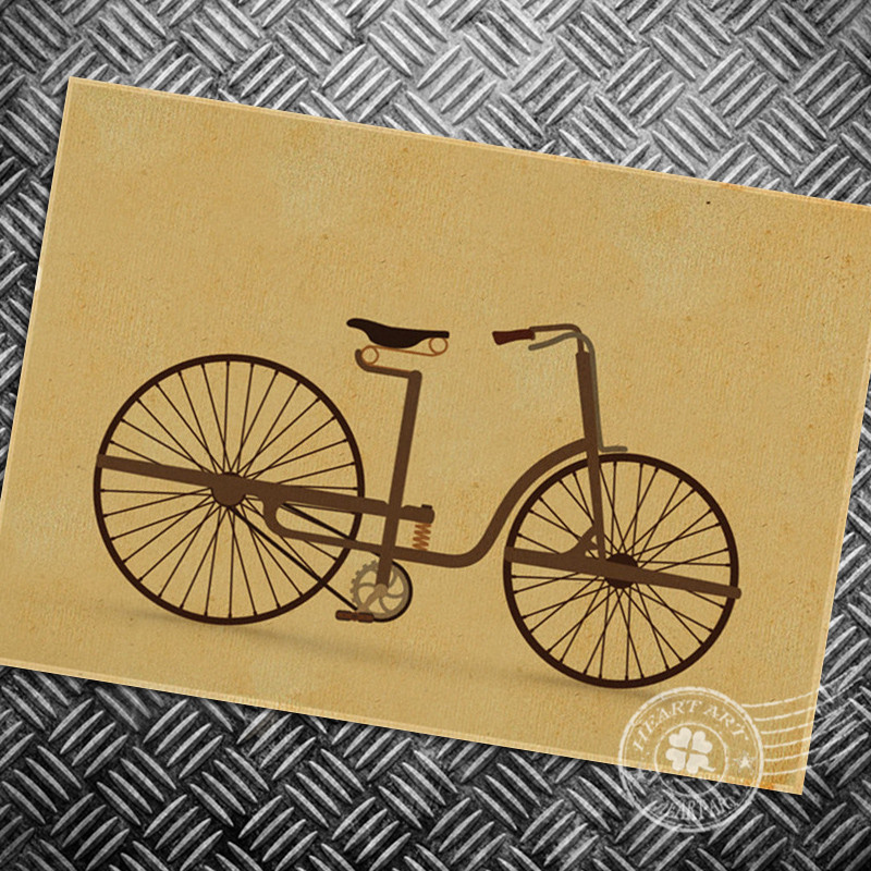 ▻HD Free ship Vintage Bicycle painting retro print picture poster ...