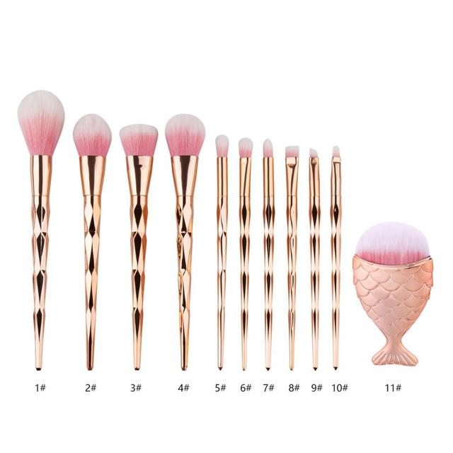 MUQGEW 1pcs Diamond Fish Makeup Brush Set Foundation Blending Power Eyeshadow Contour Concealer Blush Cosmetic Beauty Make Up