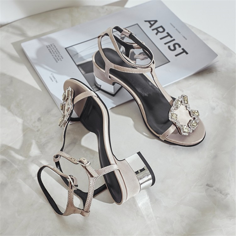 Ouqinvshen Crystal Summer Sandals Black Blue Fashion Square Heel Silk - Zapatos de mujer - foto 4