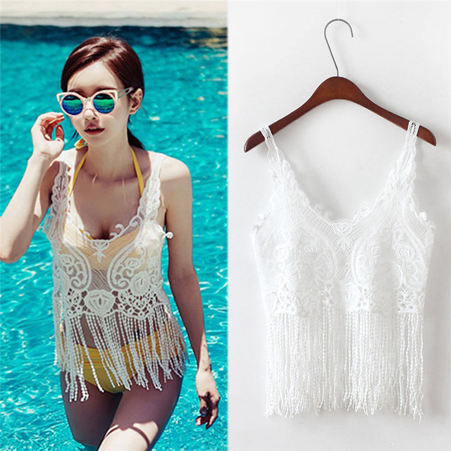 adc64b916a Women Floral Lace Beach Wear 2018 Summer Sexy White V-neck Tassel Crochet  Knit Swimsuit Bikini Cover Up Beach Bra Vest Tank Tops