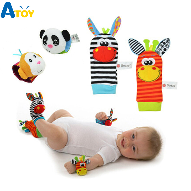 Baby Born Infant Soft Socks Wrist Rattle Set Best Newborn Gift Toys For Children Boy Girl Baby Rattle Educational Toys Christmas