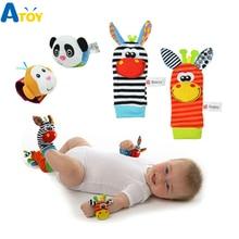 Baby Born Infant Soft Socks Wrist Rattle Set Best Newborn Gift Toys for Children Boy Girl Educational Christmas