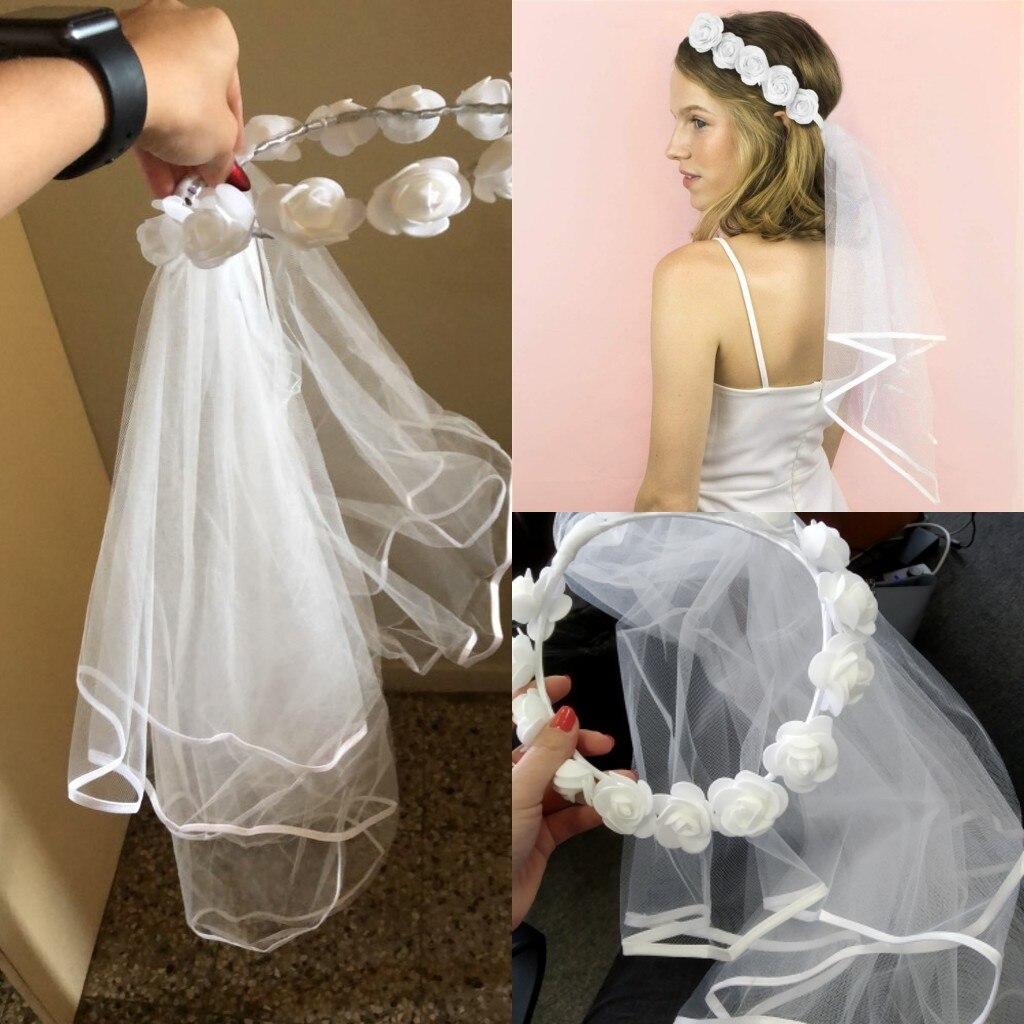 BOAKO Rose Flower Headband Short Wedding Veils Bride Party Sash Bachelorette Hen Bridal Veils Photo Props Wedding Accessories
