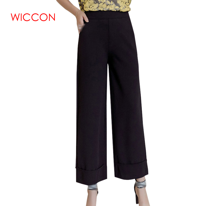 WICCON 2018 New Spring Summer High Waist   Wide     Leg     Pants   Female Loose Ankle Length Casual   Pants   Women Black Solid Trousers Women