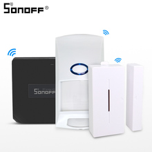 Sonoff Sensor de movimiento para puerta y ventana Detector inalámbrico de puerta y ventana, con Wifi, 433 MHZ, PIR2 RIR DW1, sistema de alarma de seguridad para el hogar, Alexa