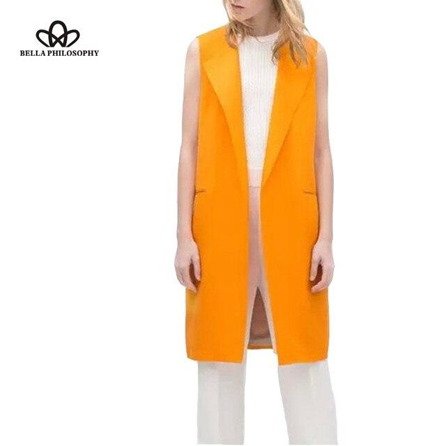 2016 новая мода зима весна длинные отложным воротником без рукавов оранжевый желтый пиджак жилет куртки реальные фото