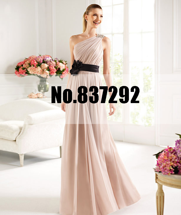 Simple Wedding Dresses Vogue: Simple Fashion One Shoulder A Line Long Chiffon Dusty Pink