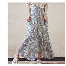 Chiffon Skirt 2019 Spring and Summer New Floral Skirt Skirt High Waist Was Thin Irregular Ruffle A Word Fishtail ruffle trim asymmetric floral skirt