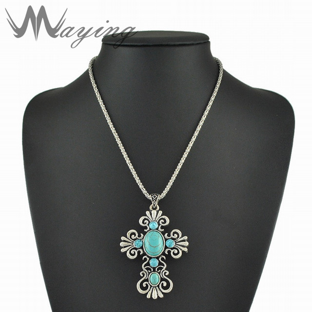 Christian jesus silver large cross pendant necklace chain for women christian jesus silver large cross pendant necklace chain for women mens western religious turquoise green stone aloadofball Images