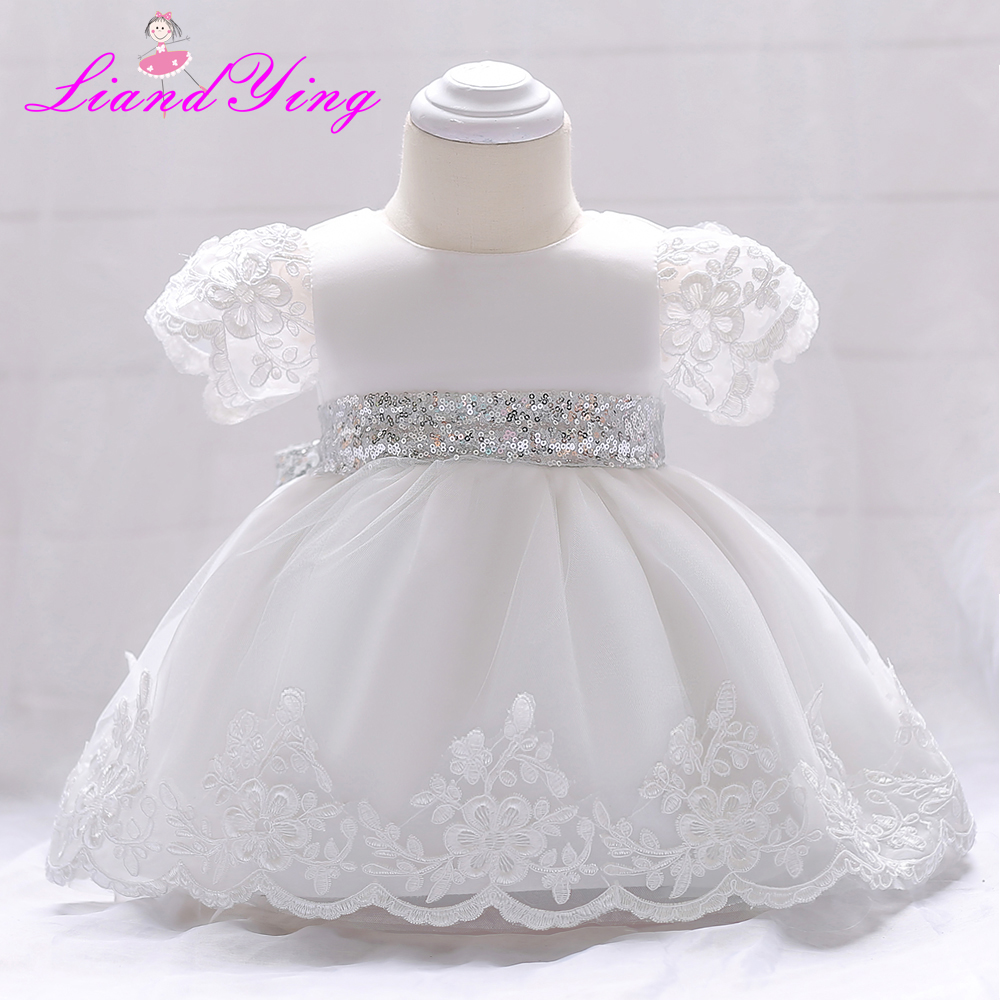 Baby Girl Dress Flower Infant Wedding Dress Princess 1 Year First Birthday Newborn Party Dresses Baby Christening Gowns