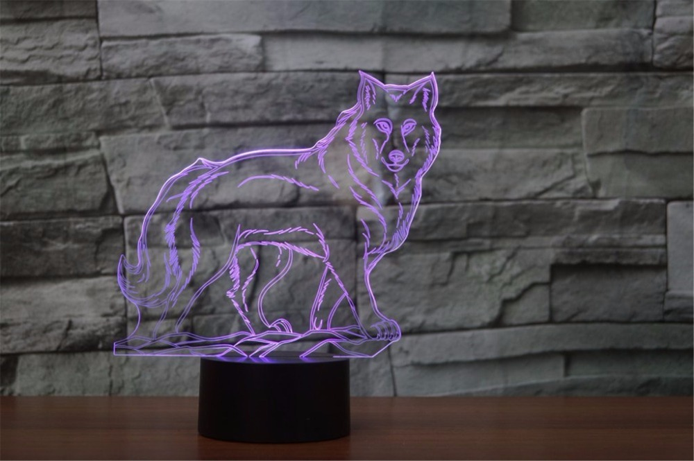 Walking Wolf Shape Table Lamp 3D LED Baby Sleep Night Light Bedroom Atmosphere USB 7 Colorful Animal Light Fixture Decor Gifts