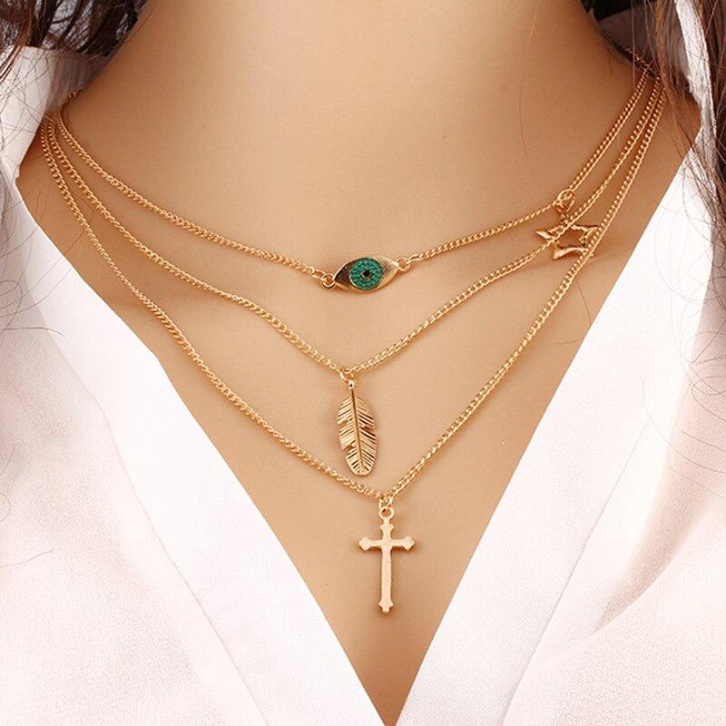 color Fatima Hand 3 Layer Chain Bar Necklaces