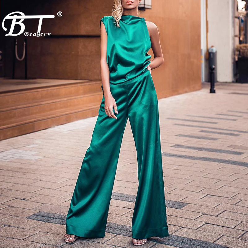 Beateen 2019 New Slash Neck Asymmetrical Sleeveless Top Loose Flare Long Pants Women Party Fashion Satin Suit 2-Piece Set